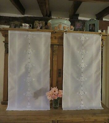 Beautiful Pair Of Vintage French White Cafe Panels / Curtains ~