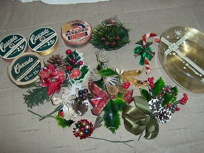 Vintage  lot of Christmas Floral  Corsages Craft  - ribbons, corsage box.