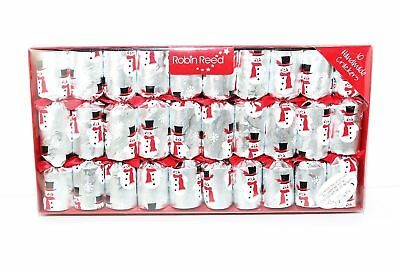Robin Reed H7 Christmas New Year Holiday 10pc Party Crackers Silver Snowman 406
