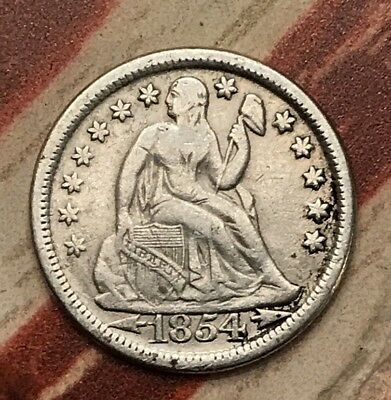 1854 10C Seated Liberty Dime 90% Silver Vintage US Coin #MBSX89 Sharp Appeal