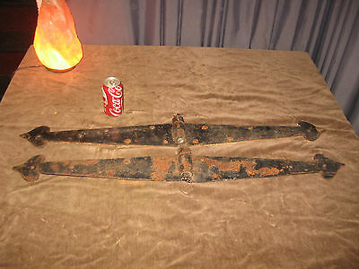 "39""pr Huge Antique Barn Hinges Vintage 2 Arrow Head Garage Door Gate Strap Shed"