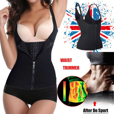Hook+Zip Women Sauna Sweat Neoprene Shaper Slimming Waist Trainer Vest UK STOCK