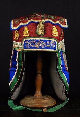 Antique Chinese 19th C Embroidered Silk Buddhist Traditional Gilded Minority Cap