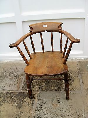 Antique Vintage Smoker's Bow Captain's Chair Office Chair Solid Wood Vgc