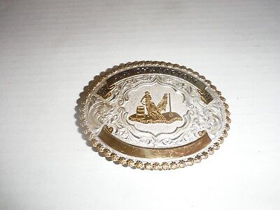 Large Western Rodeo Silver & Gold Belt Buckle AA CHAMPION 2004 Barrel Racing