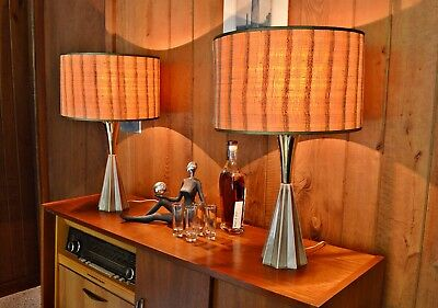Pair of Mid Century Atomic Era Lamps with Shades - 1950's