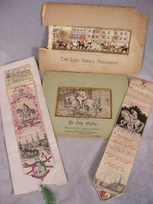 Antique Silk Stevensgraphs - 4 Lady Godiva Pictures & Book Marks
