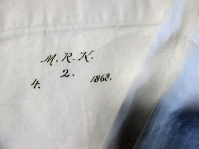 Antique Cotton/Linen Pillowcase Handmade 1868 Beautiful Script Initials and Date