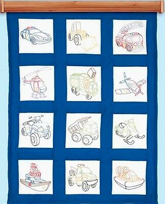 "Jack Dempsey Stamped Embroidery Pack 12 Quilt Blocks 9"" ~ TOY VEHICLES #737-745"