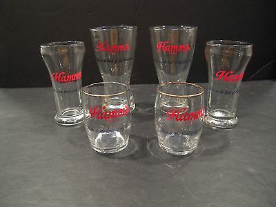 Hamm's Beer Glasses - Set of 6 - 3 Different sizes - 2 of Each - Great Variety!