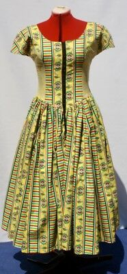 VINTAGE Day DRESS of the 1980's, COTTON, Stripe  Floral Classic size medium