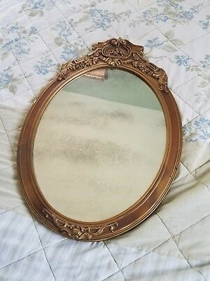 Antique Carved Wooden Oval Mirror
