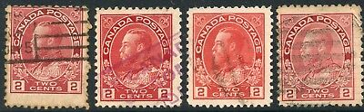 CANADA 1911-22 2c Red shades 4 u stamps used SG #200-02 [2834]