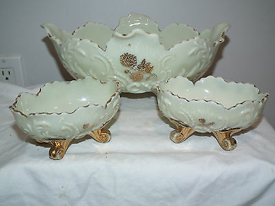 Antique Northwood Louis Xv Custard Glass Berry Bowl Set