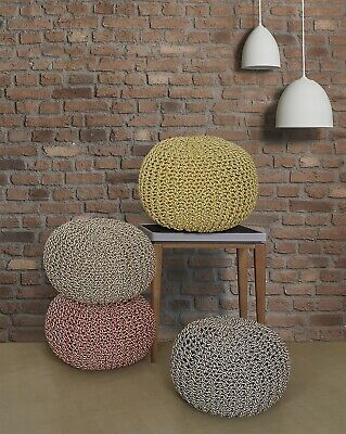 100% Cotton Two-Tone Double Knitted Braided Pouffe Stool Cushion, In 5 Colours