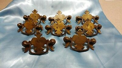 Lot of 8 Antique Real Brass Dresser Draw Pulls Handles Mount