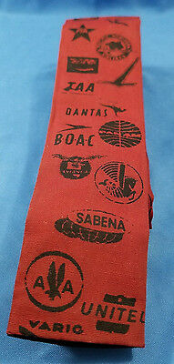 Vintage Rooster Airline Theme Hand Printed Cotton Sun Fabric Tie BOAC/SABENA/TWA