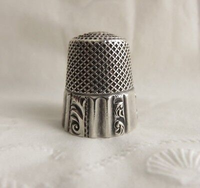 VERY NICE ANTIQUE KETCHAM & McDOUGALL STERLING SILVER PANELED SZ.10 THIMBLE