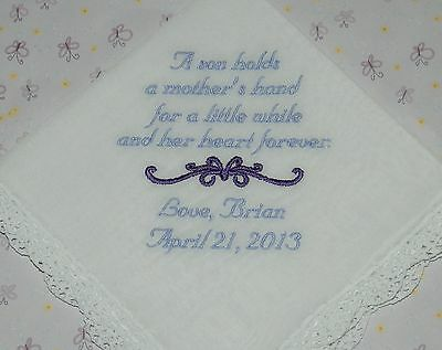 Personalized Groom to Mom Wedding hankie - embroidered - Wedding Handkerchief