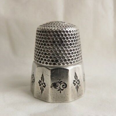 Antique Waite Thresher Sterling Silver Paneled Sz.10 Thimble 1 Hole On Top