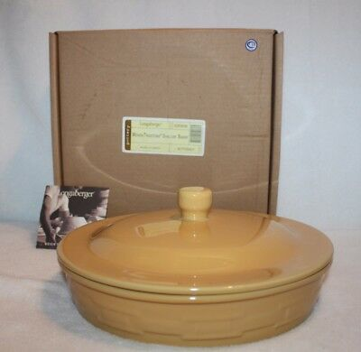 Longaberger Woven Traditions Pottery Butternut Shallow Baker New