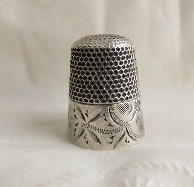 Antique Waite Thresher Sterling Silver Sz. 9 Thimble