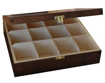 Wooden Tea Bag Box 12 Compartments Sections Storage Caddy Chest Organiser (H12b)