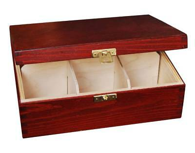Wooden Tea Bag Box 6 Compartments Sections Storage Caddy Chest Organiser (H6MM)