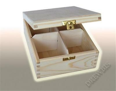 Wooden Tea Bag Box 4 Compartments Sections Storage Caddy Chest Organiser (H4)