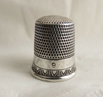 Antique Simons Sterling Silver Size 9 Thimble