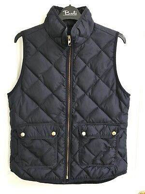 NEW Womens J CREW size S Small navy blue quilted down vest jacket top shirt coat