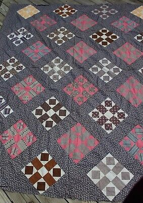 Vtg Antique Quilt Top Cotton Nine Patch on Point Early Fabrics PA Circa 1900