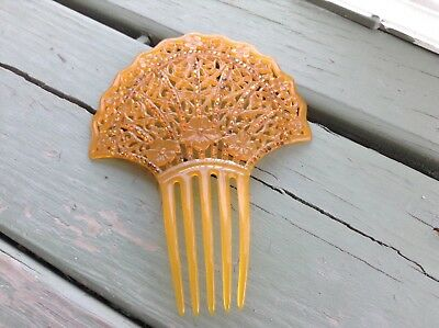 Fabulous Art Nouveau Celluloid Rhinestone Fan Style Hair Comb Amber flowers