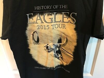 Men's 2015 History Of The Eagles American Band Tour 2 Sided T Shirt Black Size M