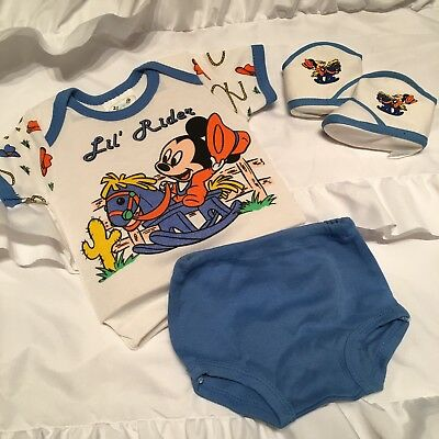 Disney Babies 1984 Newborn to 6 Months Set Baby Cowboy Boots Rider Mickey Mouse