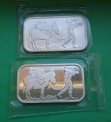 Two x 1 ounce Silvertowne Retro Prospector Bar .999 silver