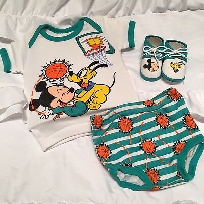 Disney Babies 1984 Newborn to 6 Months Baby Pluto Mickey Mouse Basketball Shoes