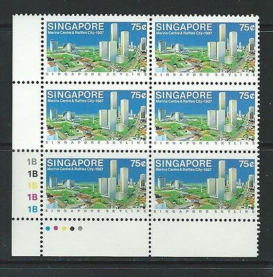SINGAPORE - #501 - 75c MARINA CENTRE & RAFFLES CITY LL PLATE BLOCK OF 6 (1987)