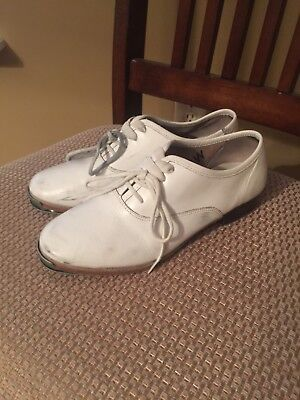 Women's 5 M Moore's Split Sole Clogging Shoes, White, with taps