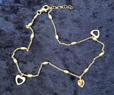 925 Sterling Silver CZ Heart Anklet