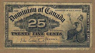 1900 Dominion of Canada 25 Cent Shinplaster Note,J M Courtney, Circulated