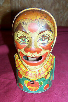 Old Clown Mechanical Bank J. Chein & Co Vintage Tin Toy Coin Piggybank Metal Kid