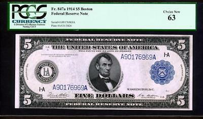 Fr.847A 1914 $5 BOSTON FRN + PCGS CHOICE NEW UNCIRCULATED 63 VERY RARE BEAUTY!