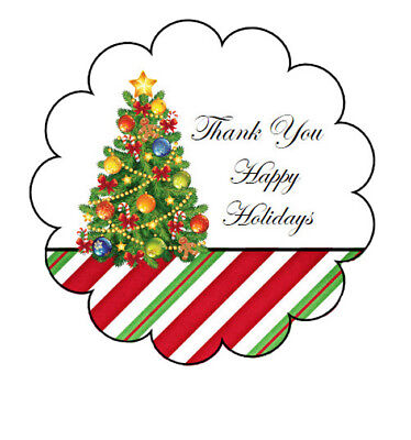 Glossy Scallop Border Christmas Tree Thank You Stickers - Design #22