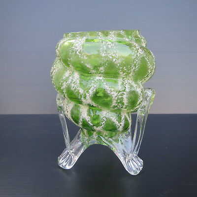 Interesting Victorian, Edwardian, Art and Crafts, Green Glass Vase, Hand Made