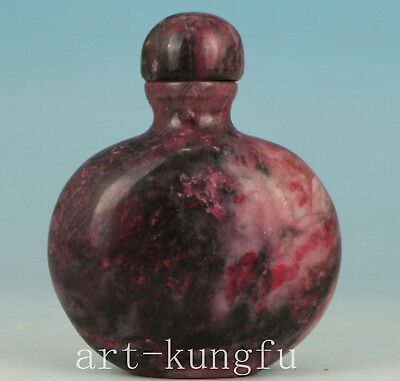 Chinese Red Jade Handmade Carved Statue Snuff Bottle