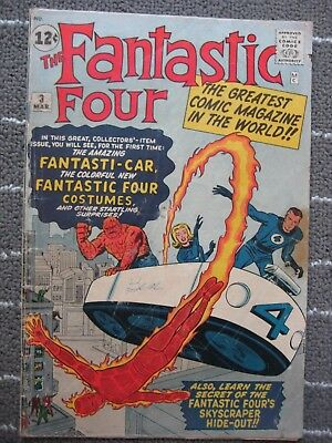 Fantastic Four 3 | MARVEL 1962 | 1st Miracle Man & 1st Costumes GOOD PLUS(2.5)