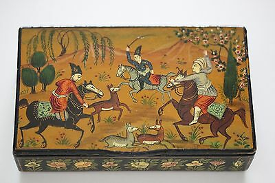 Antique 19th C. Qajar Lacquer Islamic Persian Arabic Box Hand Painted Signed!