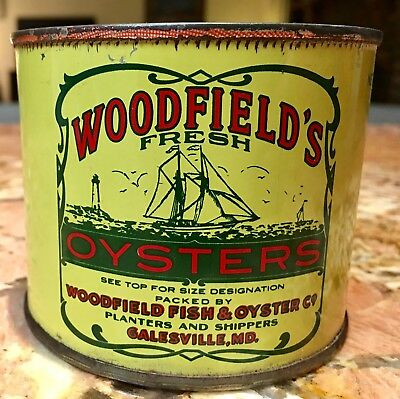 Vtg Rare 12oz Woodfields Oyster Tin Can Galesville MD - Near Annapolis Maryland