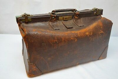 Antique Vtg Edwardian Gladstone Leather Doctors Tool Medical Bag Brass Latches